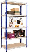 free standing movable shelving with items on