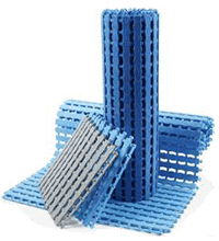 blue flooring and matting for use in a warehouse or office