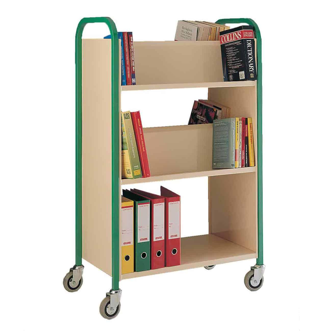 Double Sided 3 Shelf Book Trolleys