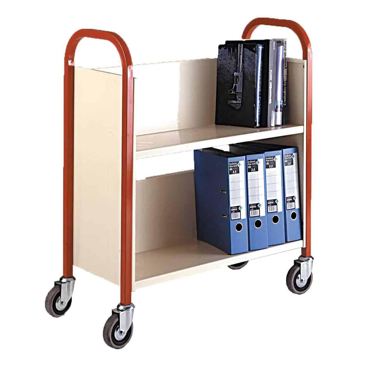 Single Sided 2 Shelf Book Trolleys