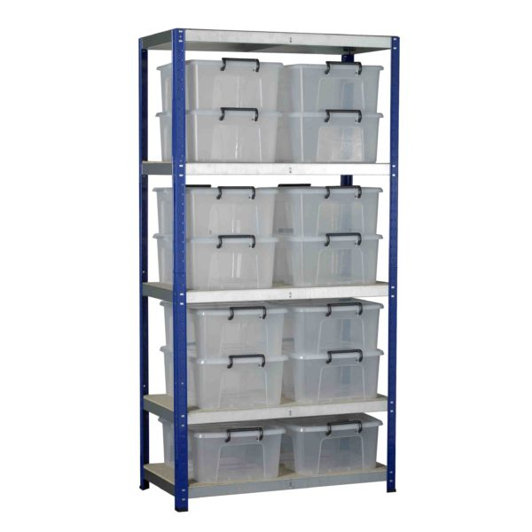 Ecorax Shelving with 14 Storemaster Containers