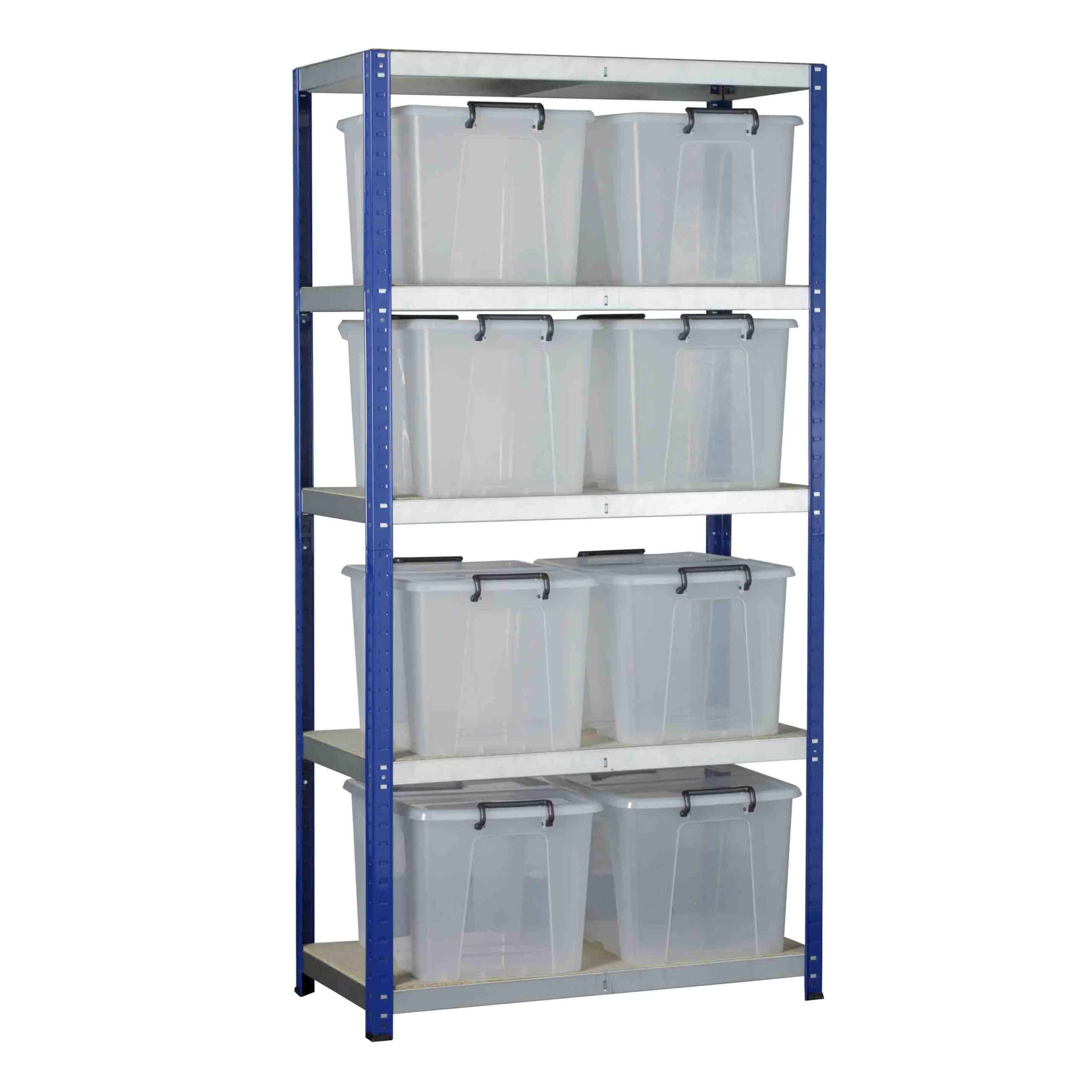 Ecorax Shelving with 8 Storemaster Containers