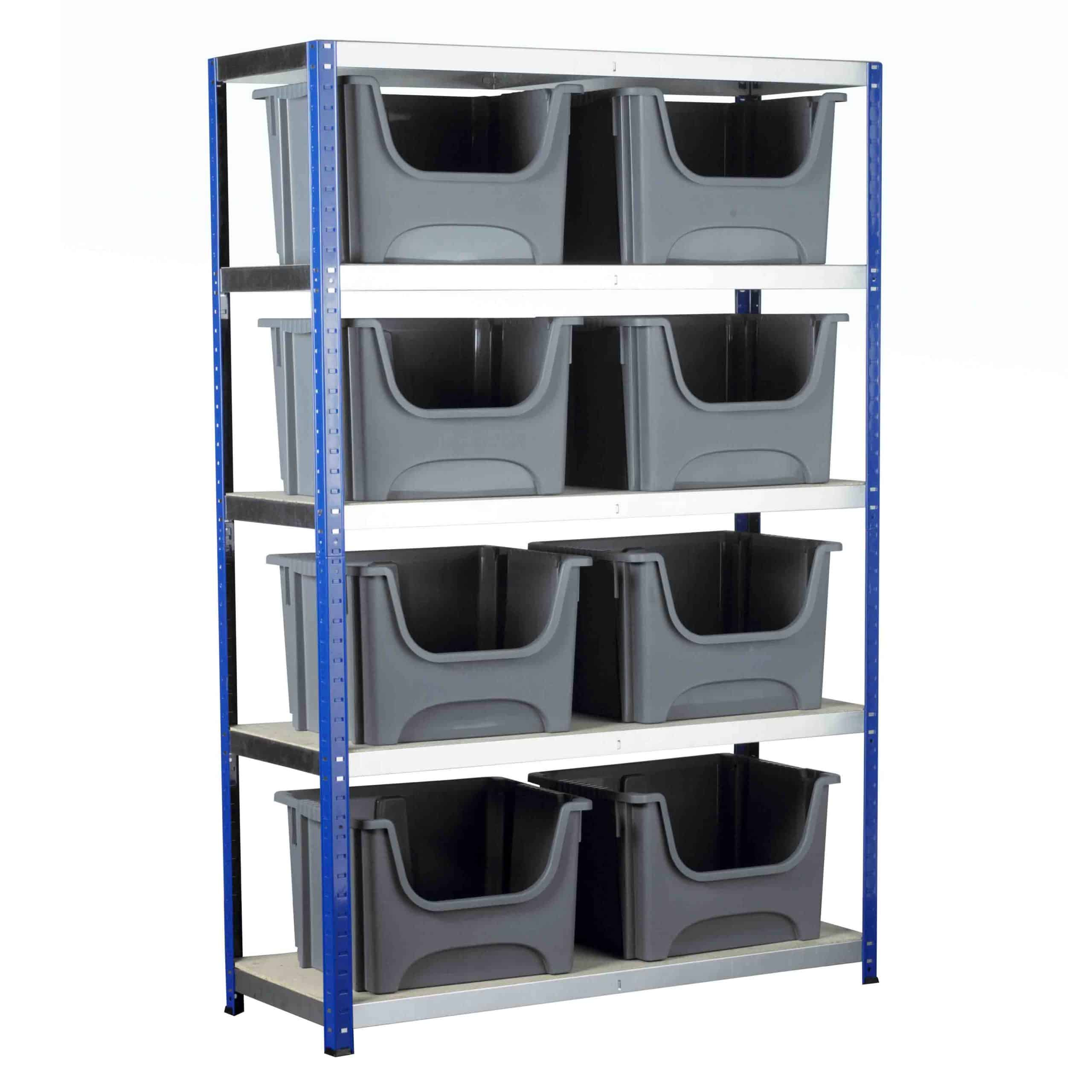 Ecorax Shelving with 8 Space Bin Containers