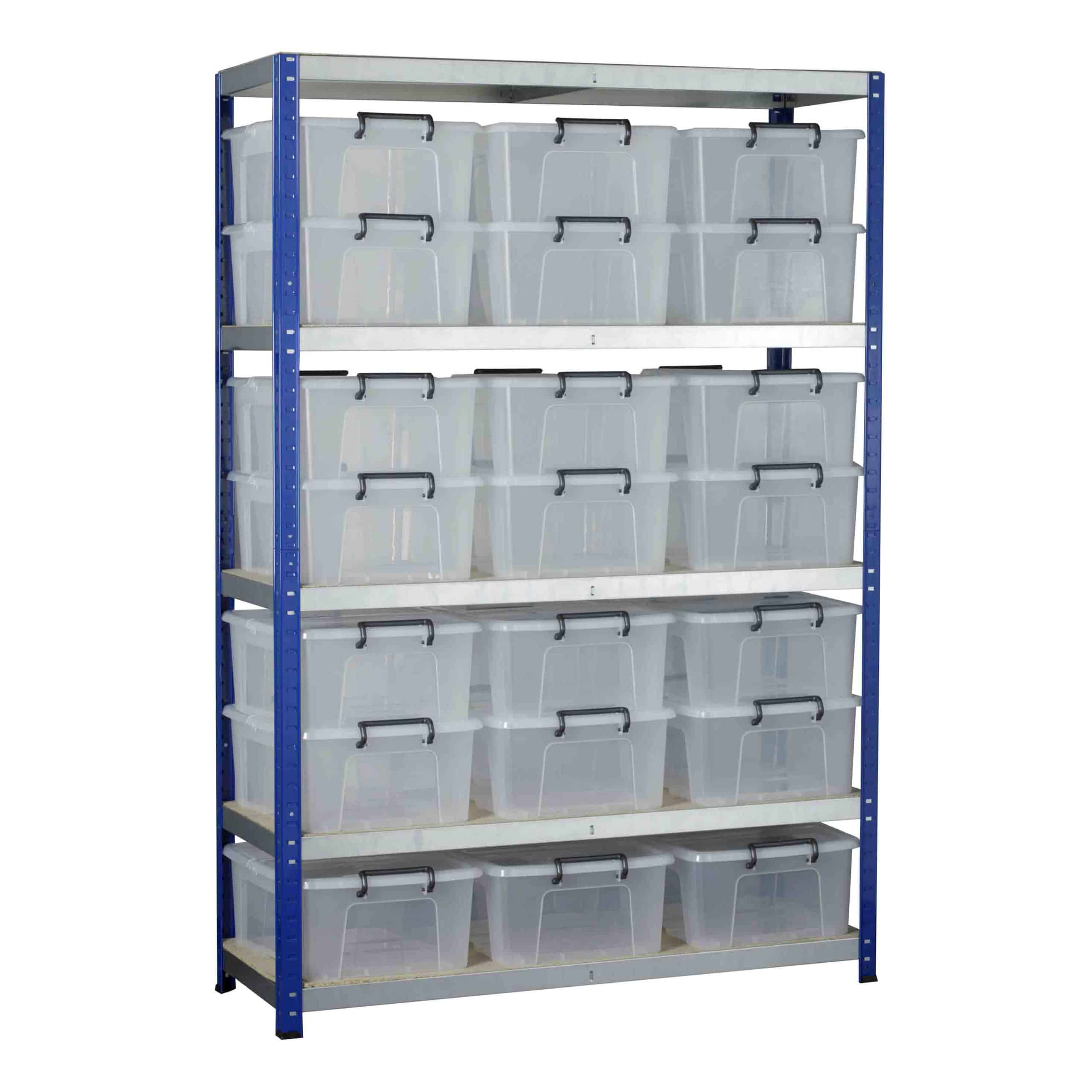Ecorax Shelving with 21 Storemaster Containers