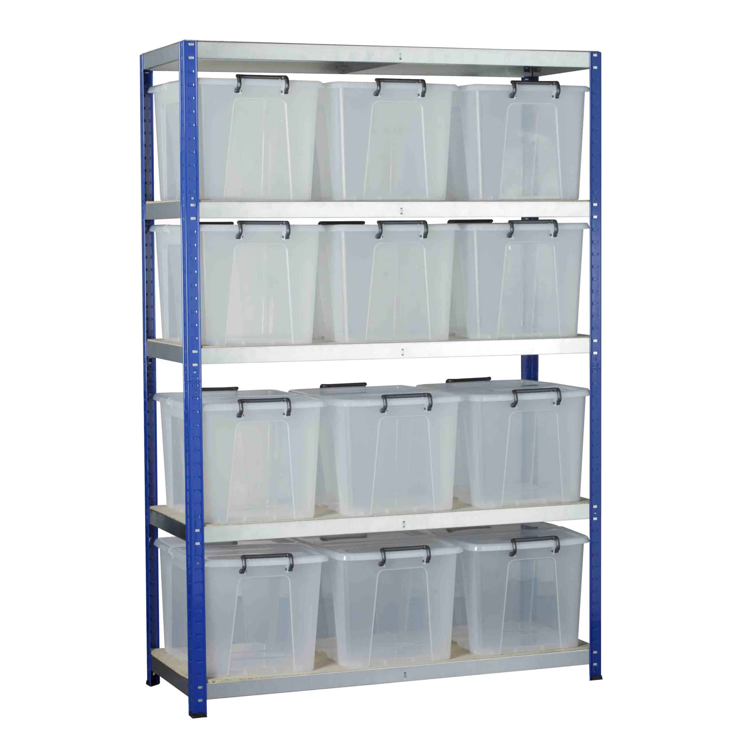 Ecorax Shelving with 12 Storemaster Containers