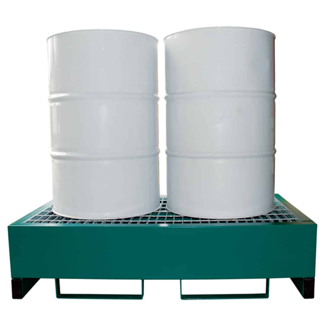 Metal Drum Spill Containment Pallet Holds 2 Drums