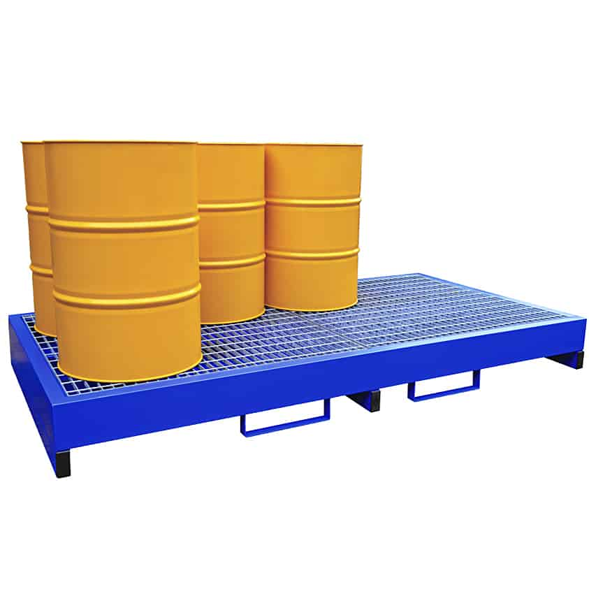 Metal Drum Spill Containment Pallet Holds 8 Drums