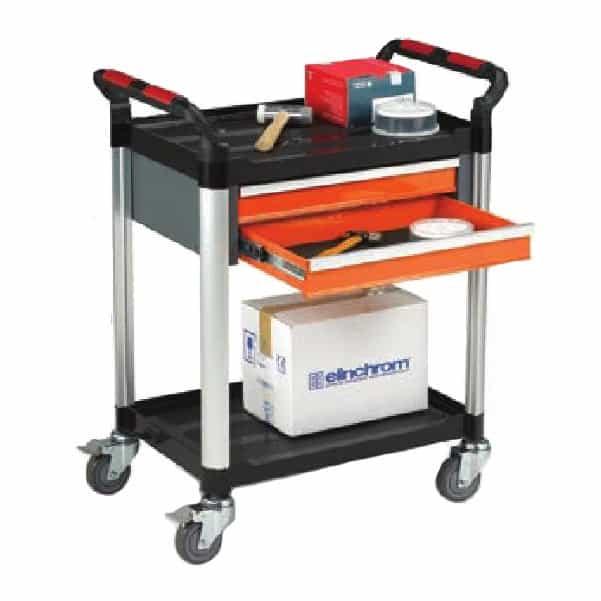 Robust Plastic 2 Shelf 2 Drawer Utility Tray Trolleys