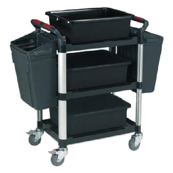 Robust Plastic 3 Shelf Plastic Bin Utility Tray Trolley