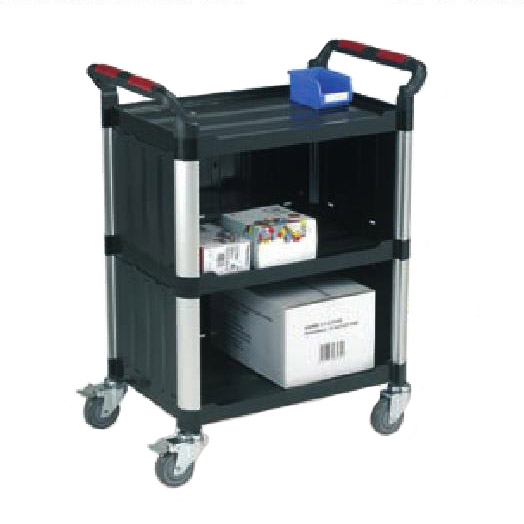 Robust Plastic Enclosed 3 Shelf Utility Tray Trolleys