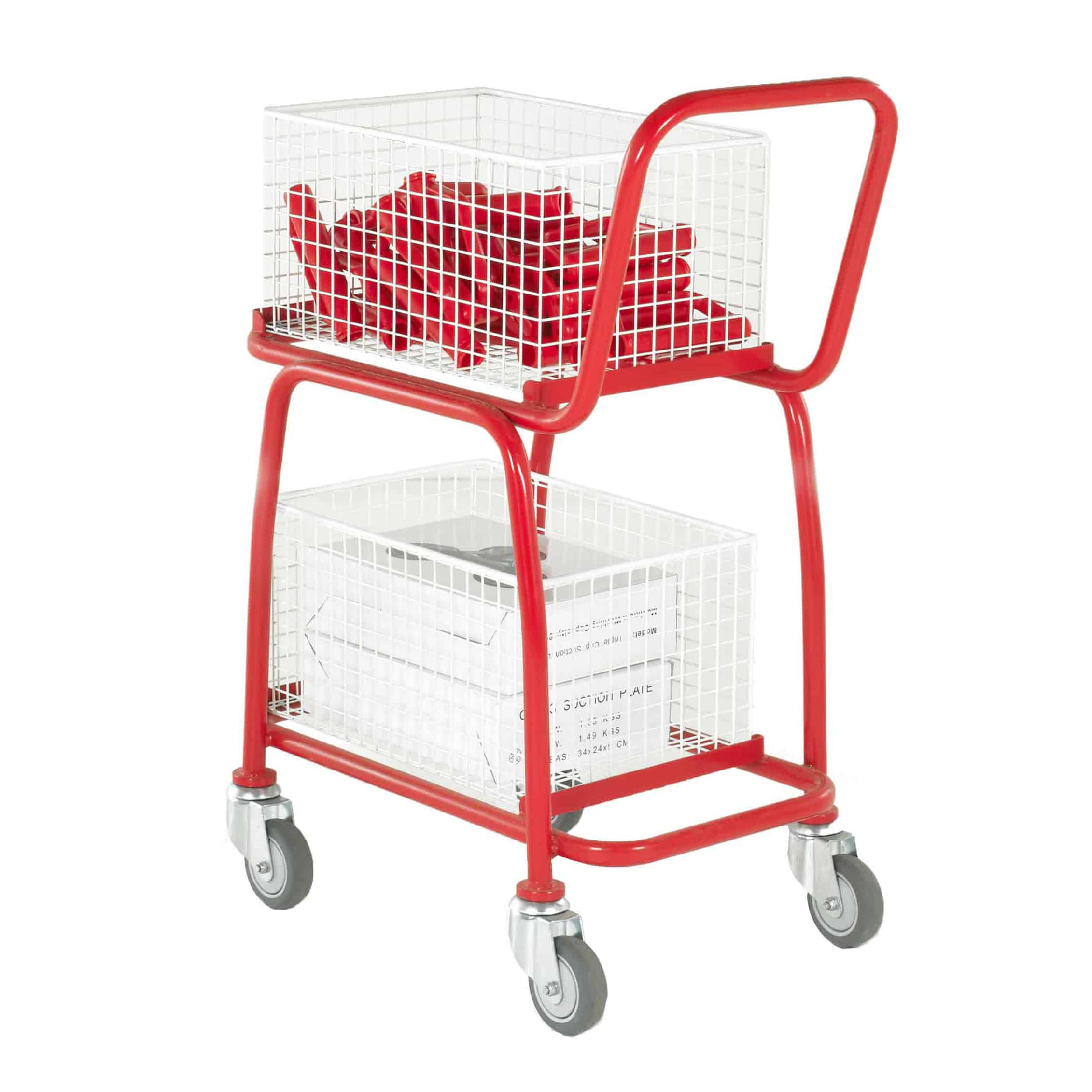 Two Tier Removable Basket Tray Trolleys