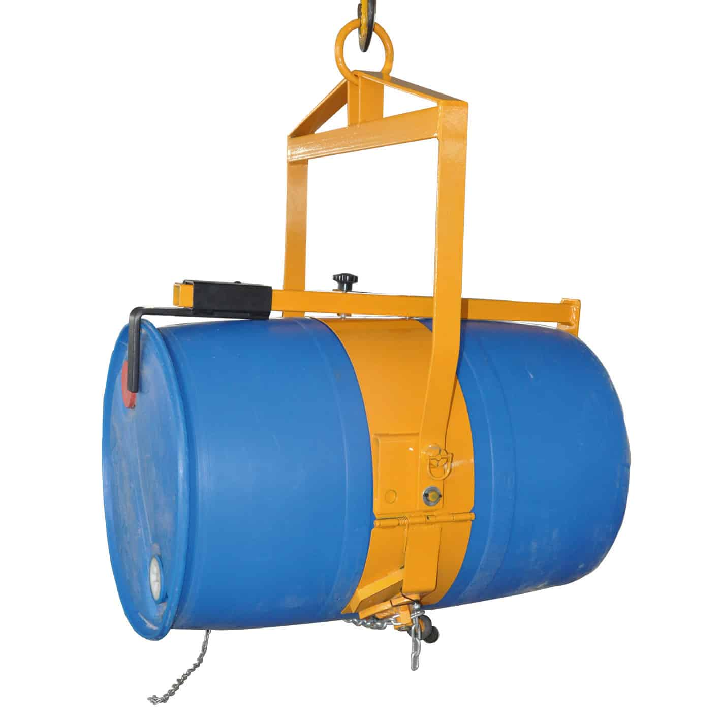 Drum can be tilted for positioning & pouring by pulley & chain