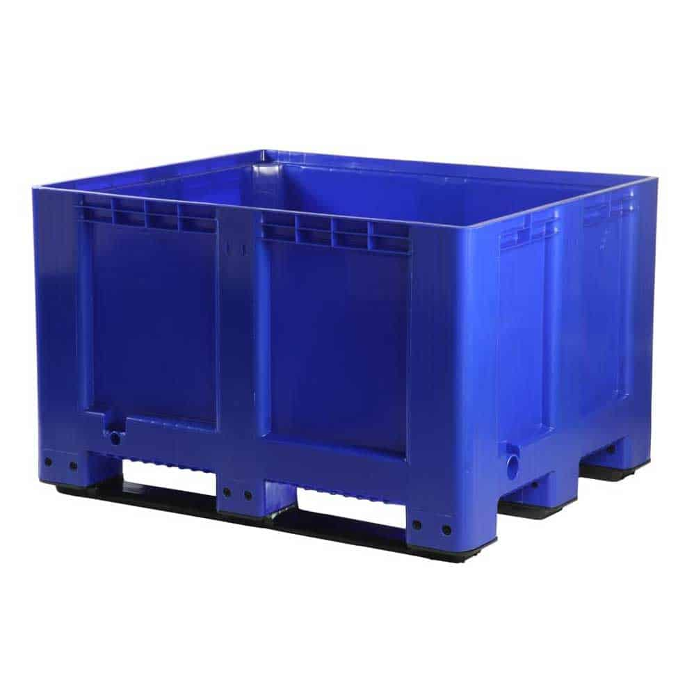 Solid 3 Skid Plastic Pallet Storage Boxes