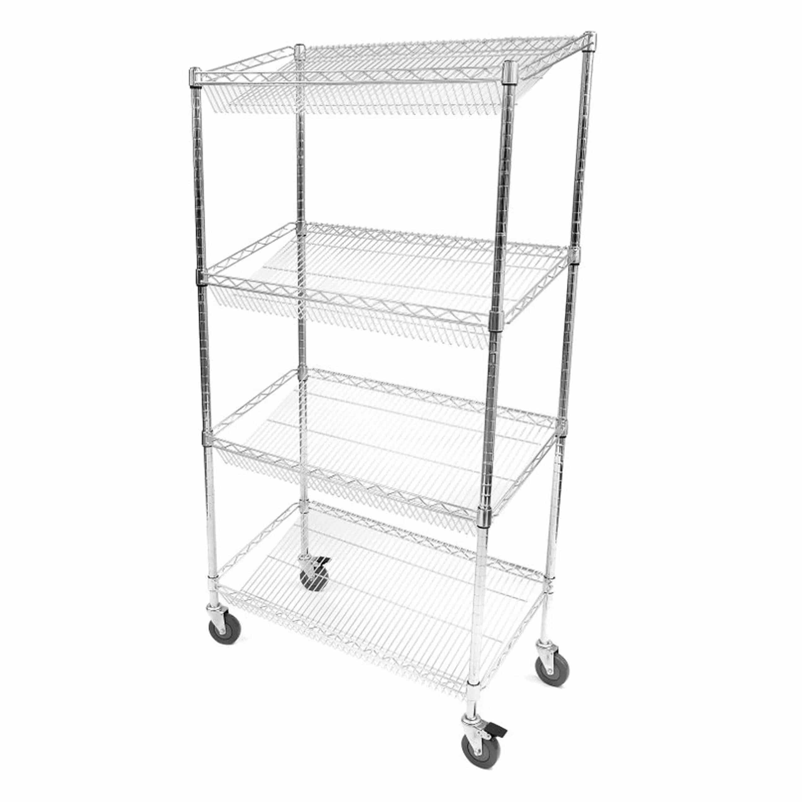 Chrome Wire Sloped Shelf Trolleys