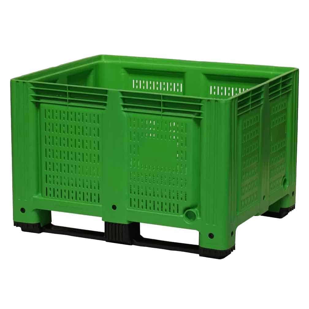 Green Plastic Vented Side Pallet Box