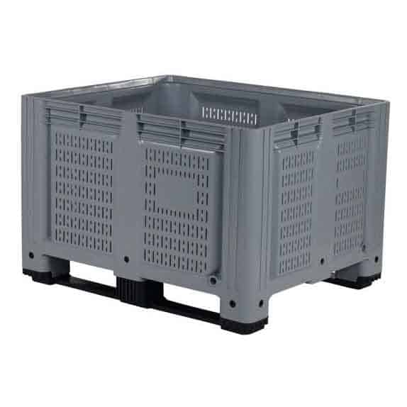 Grey Plastic Vented Side Pallet Box