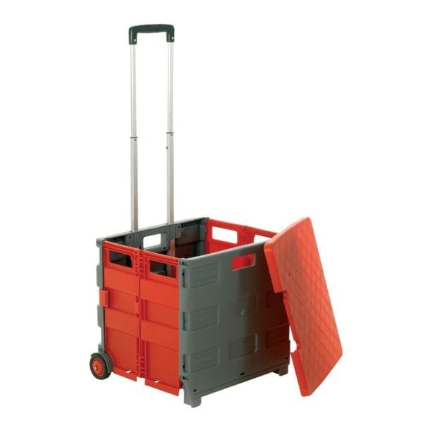 35kg Grey Folded Box Trolley with Removable Lid