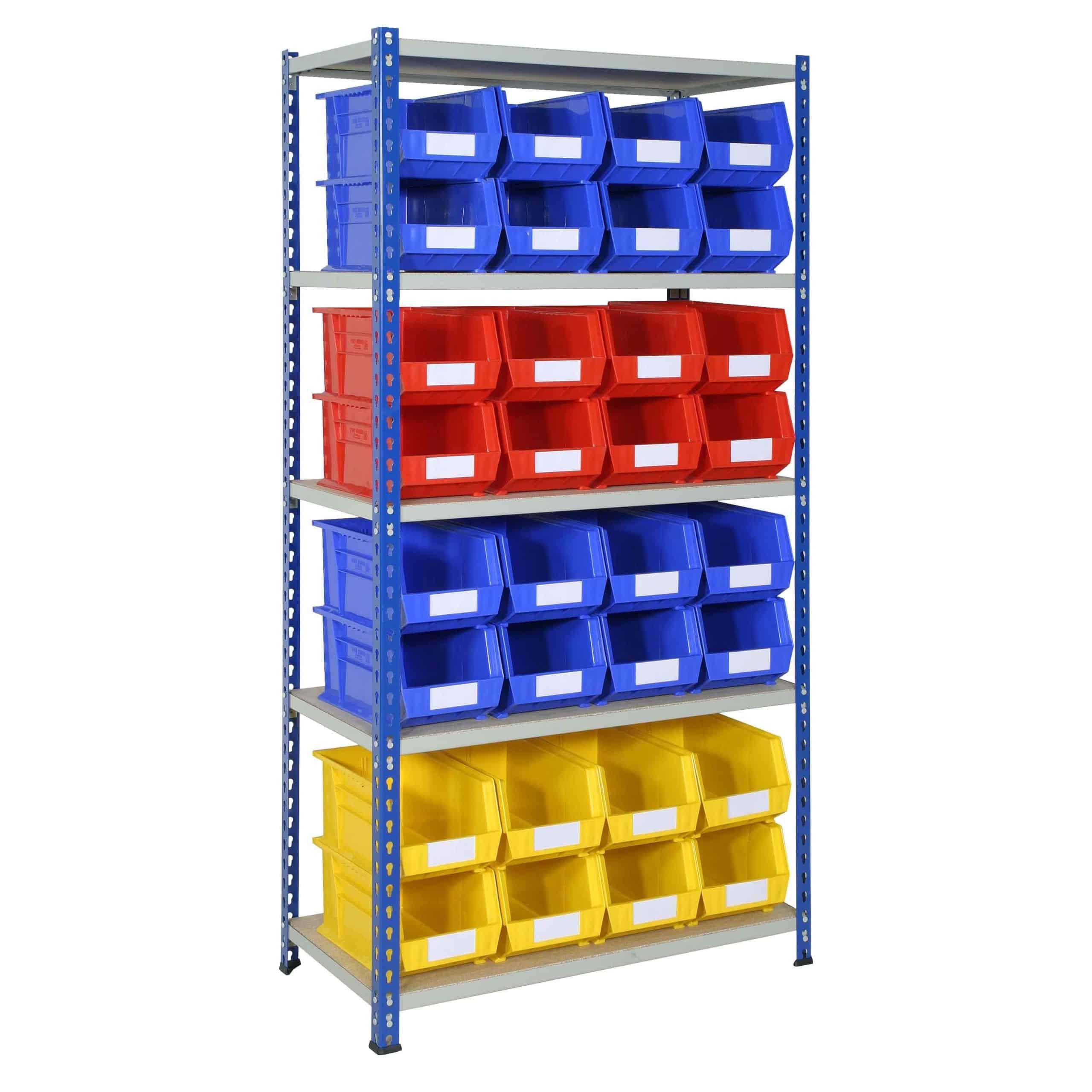 J Rivet Shelving with 32 Plastic Bins