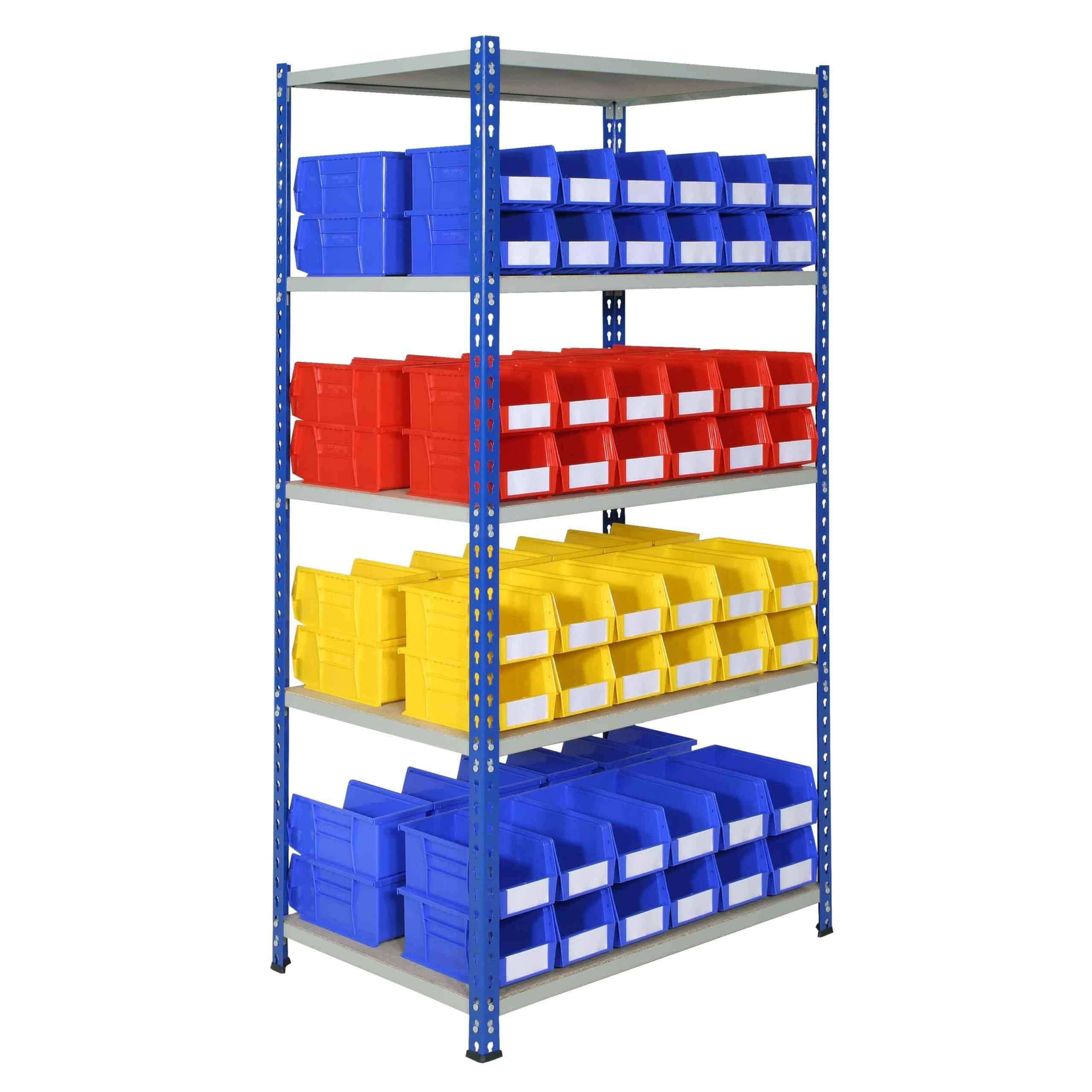 J Rivet Shelving with 96 Plastic Bins