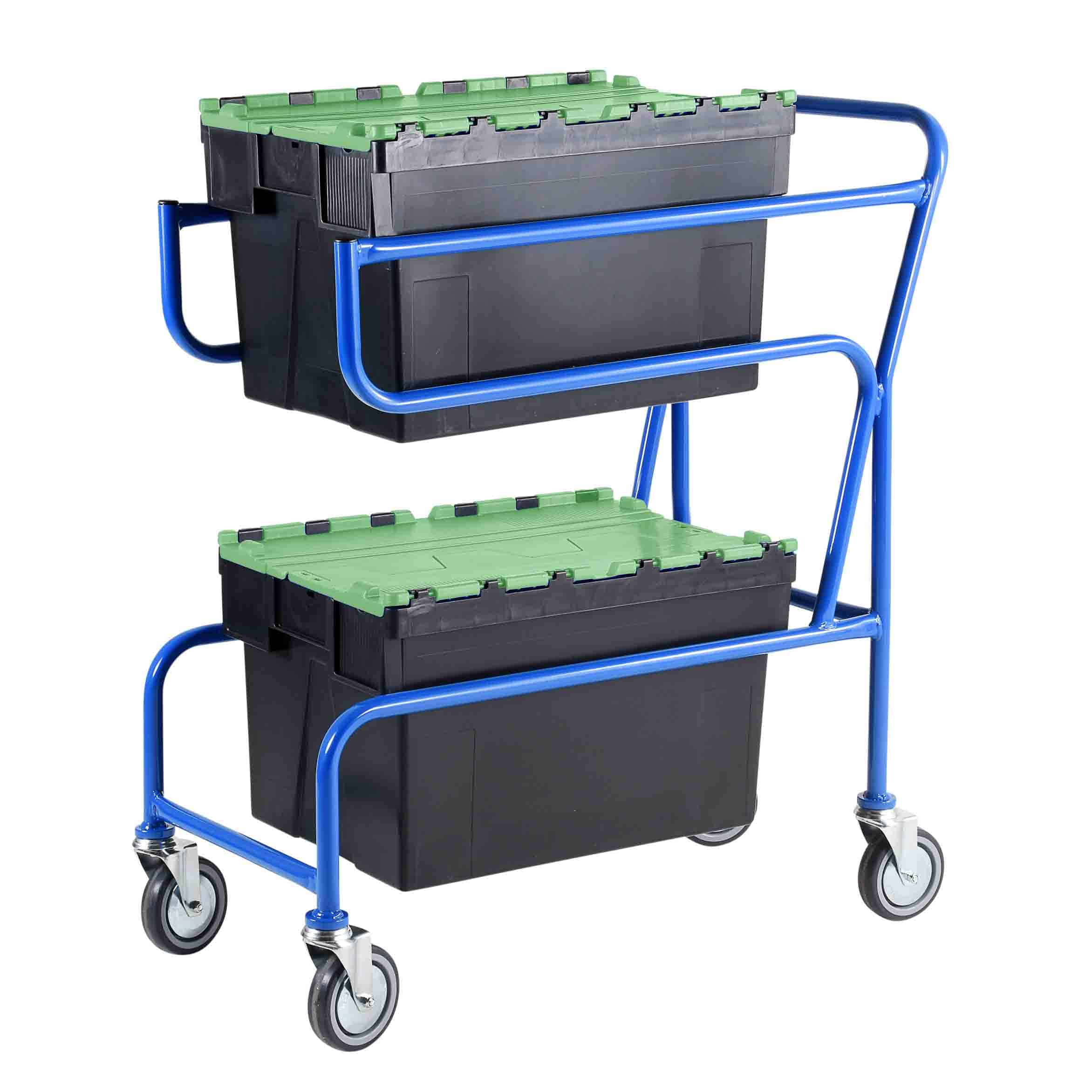 Multi-Trip Green Lidded Euro Container Trolley