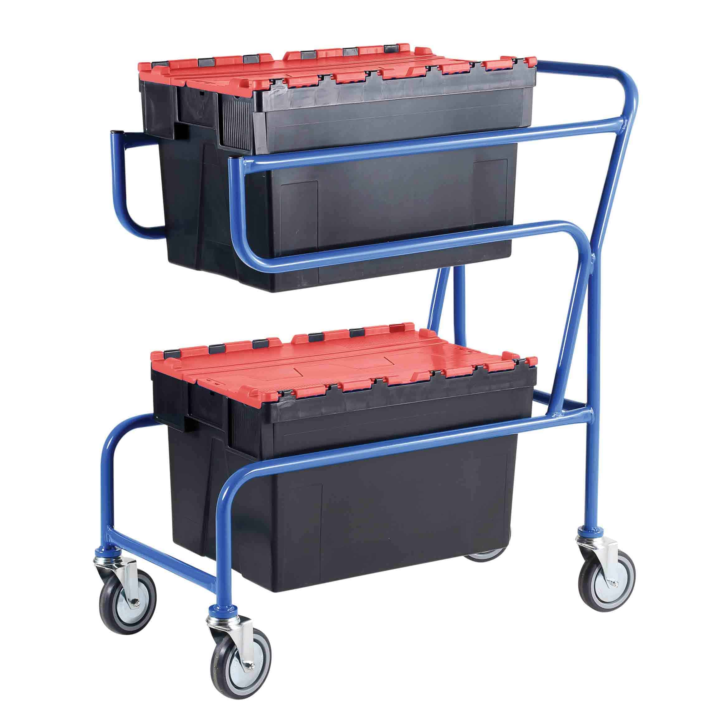 Multi-Trip Red Lidded Euro Container Trolley