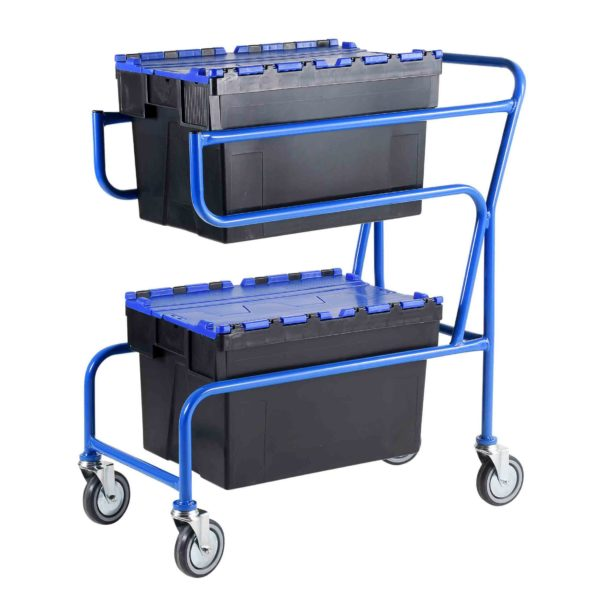 Multi-Trip Blue Lidded Euro Container Trolley