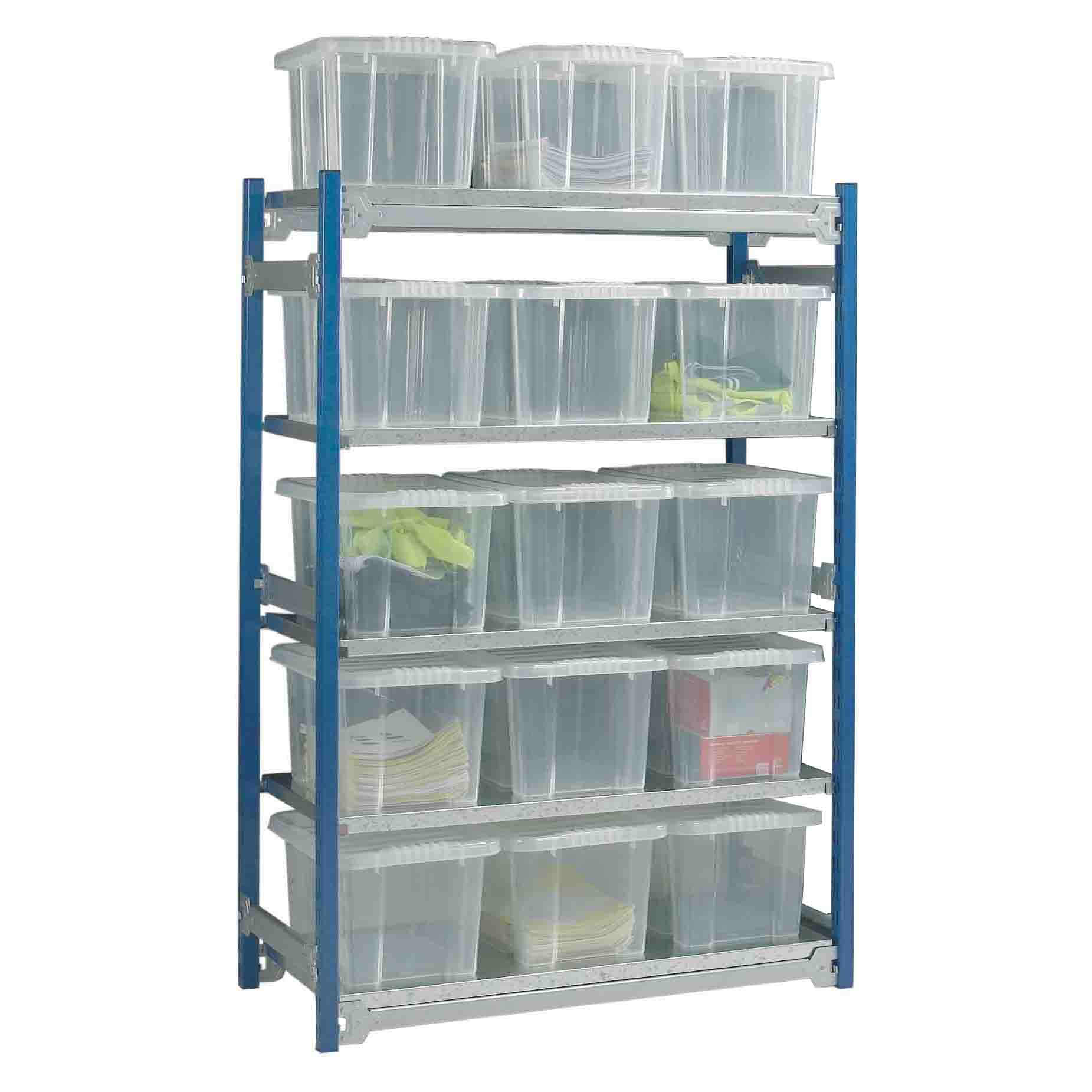 Toprax Shelving Starter Bay with 15 Containers