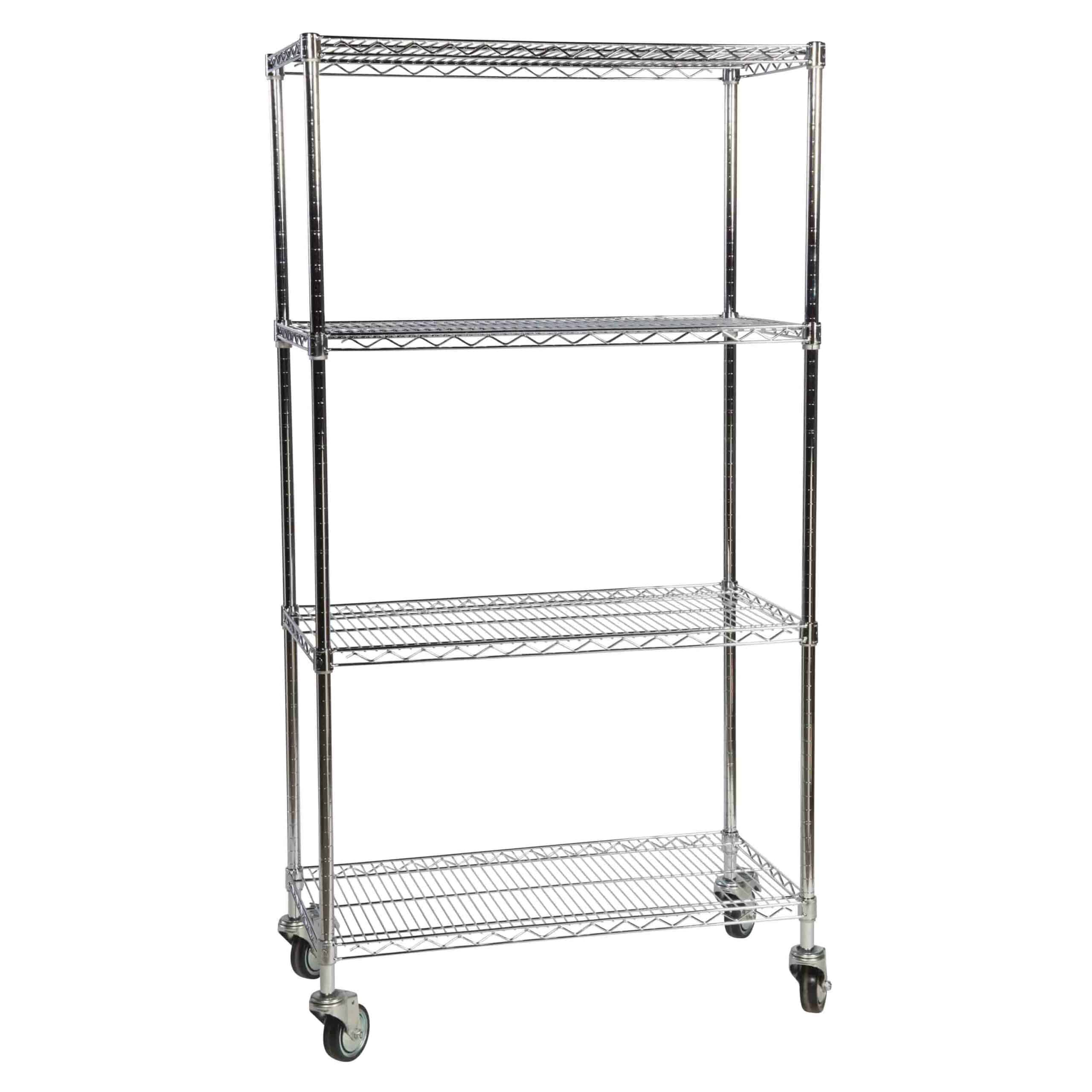 Mobile Chrome Wire 4 Tier Shelving Bay